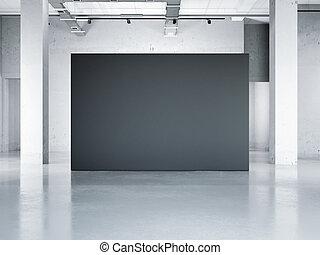 Blank black wall in modern museum. 3d rendering - Blank...