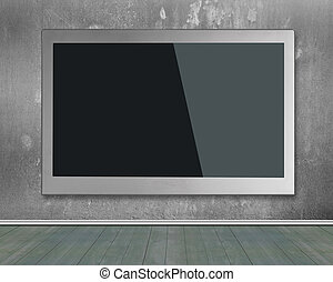 Blank black wide flat TV screen hanging on wall