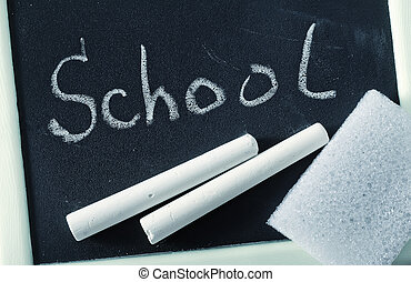blank blackboard, chalkboard and chalk