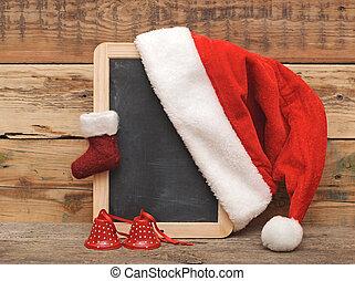 blank blackboard, Christmas frame