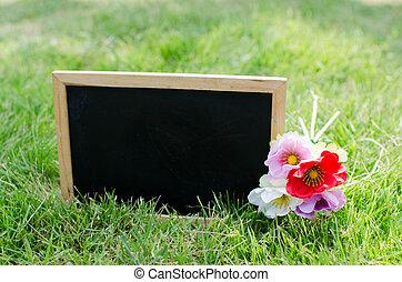 Blank blackboard on green grass.