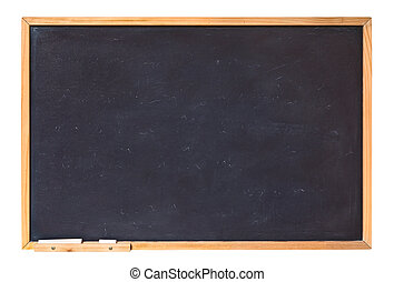 blank blackboard with wooden frame and chalk - empty...
