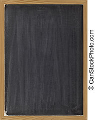blank blackboard with vertical white chalk smudges, ready to be used as a menu or other sign