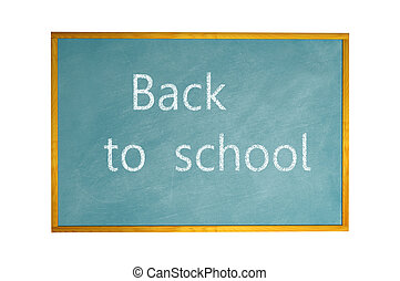 Blank blackboard with chalk drawing isolated on white background