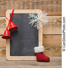blank blackboard with christmas decoration. christmas frame