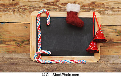 blank blackboard with christmas decoration
