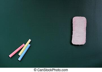 Blank blackboard with eraser and chalk