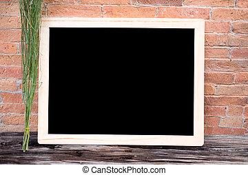 Blank blackboard wooden frame chalk - empty chalkboard