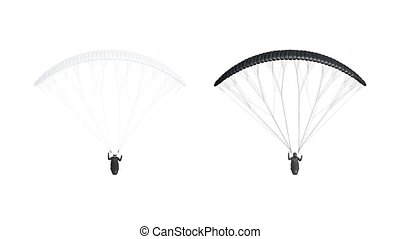 Blank blank and white paraglider with harness mockup, looped rotation, 3d rendering. Empty free-flying paragliding with person mock up, 4k, isolated. Clear rotating skydiving canvas template.