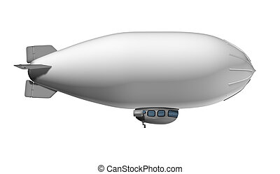 Blank Blimp flying in the air as a white commercial sign on...