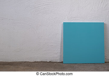 Blank blue board on white background