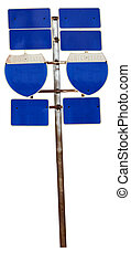 Blank blue interstate road signs