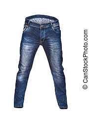 blank blue men's jeans on isolated white background