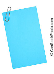 Blank blue paper with clip