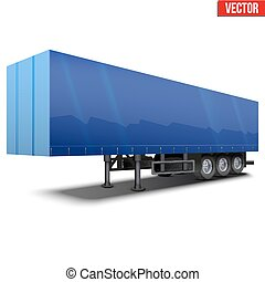 Blank blue parked semi trailer