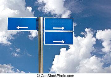 Blank Blue Road Sign Against Light Cloudscape