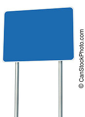 Blank Blue Road Sign Isolated, Large Perspective Copy Space