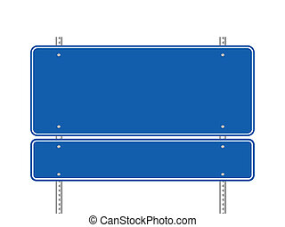 Blank blue road sign vector illustration