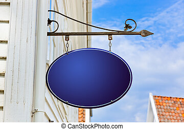 Blank blue sign - abstract background