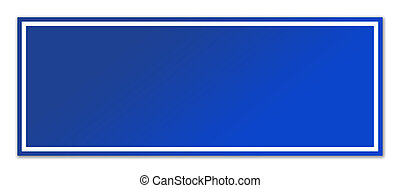 Blank blue street sign isolated on white background with...