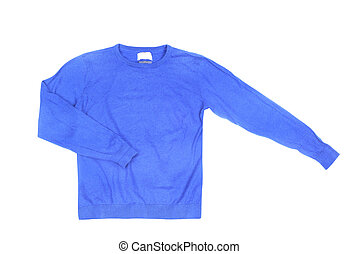 Blank blue sweater isolated on a white background