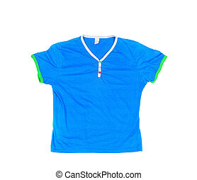 Blank blue t-shirt  on an isolated white background