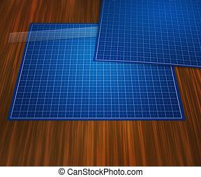 Blank Blueprint On Table Background