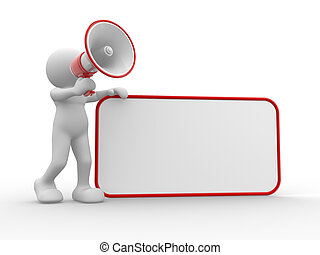 Blank board - 3d people - human character , person with...