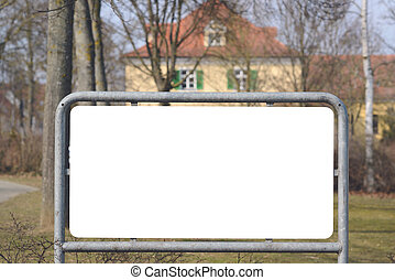 Blank board with house in background