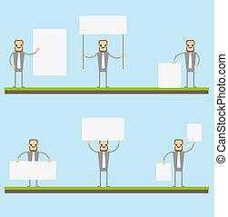 Blank boards. Businessman showing an empty board