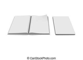blank book page isolated on white background