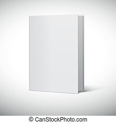 Blank book cover. Book rotated in three quarters on a white ...