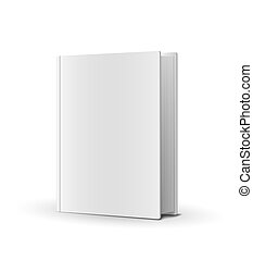 Blank book cover over white