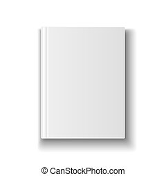 Blank book cover template on white background with soft shadows.  illustration.