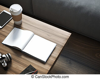 Blank book on the wooden table. 3d rendering