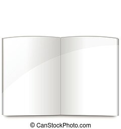 Blank magazine spread or note book pages design template over white background.