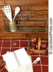 Blank book recipes and fruit basket