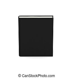 Blank book with black cover on white background.