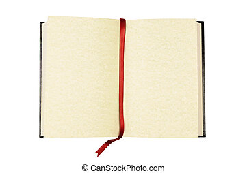 Blank book with bookmark - Old blank book with yellow...