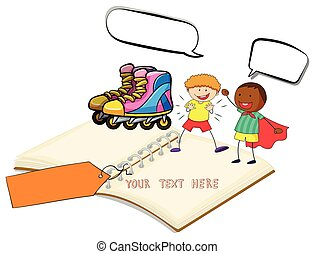 Blank book with two boys and rollerskates illustration