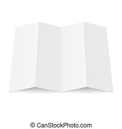 Illustration of blank fourfold booklet on white background