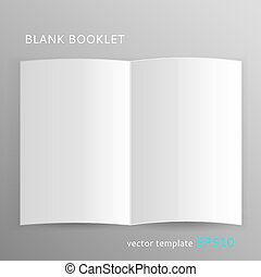 Vector blank open booklet isolated on gray background