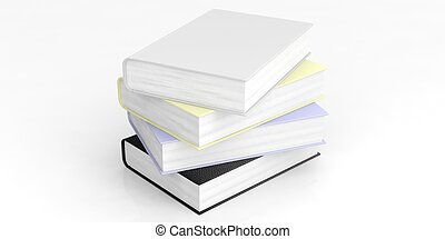 Blank books stack on white background. 3d illustration