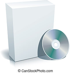 Blank box and disc - Blank 3d box with compact disc, vector...