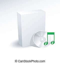 Blank box and music dvd , disc , cd