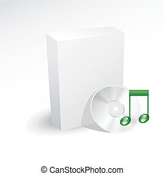 Blank box and music dvd , disc , cd