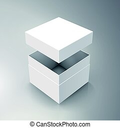 blank box design - blank spun white paper box and floating...