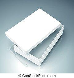 blank box design - blank white paper flat half open left...