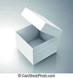 blank box design - blank white paper left tilt half open box...