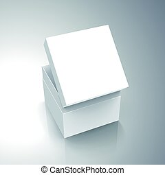 blank box design - blank white paper left tilt half open box...